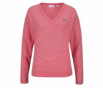 V-Ausschnitt-Pullover rot / weiß
