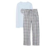 Schlafanzug 'Daisy' hellblau / rosa / schwarz