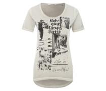 Print-Shirt im Used-Look grau