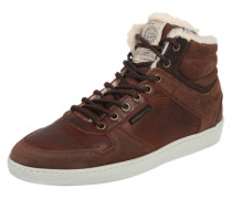 Gefütterte Sneaker aus Leder braun