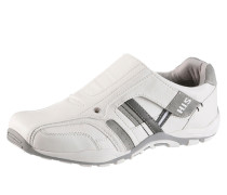 Slipper mit Klettverschluss grau / weiß