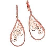 Ohrhänger »Tropfen mit Ornament« mit Zirkonia gold
