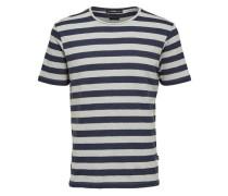 T-Shirt Rundhalsausschnitt dunkelblau / silber