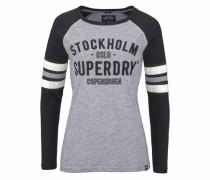Langarmshirt 'applique Football Raglan Top' dunkelblau / graumeliert / naturweiß