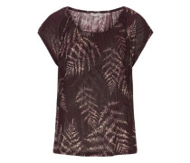 Shirt mit ausgefallenem Blätter Druck dunkellila