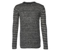 Pullover mit Streifen-Muster 'Ejgo' dunkelgrau