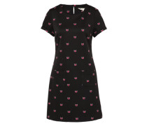 Kleid mit Katzen-Print schwarz