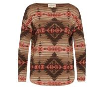 Pullover mit Ethnomuster braun