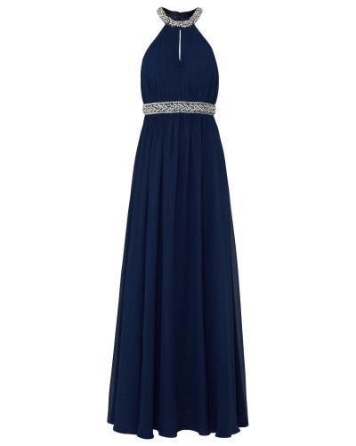 Abendkleid mit Glitzerbesatz nachtblau