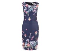Jersey-Kleid mit Blumenprint dunkelblau
