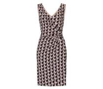 Kleid mit Hahnentritt aus Jersey puder / schwarz