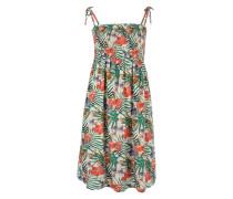 Kleid 'Juliana' creme / smaragd / rot