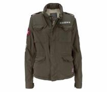 Cargojacke 'winter Rookie Military Patch Jacket' oliv / rot / weiß