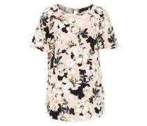 Geblümtes Shirt mit Rüschen creme / rosa / schwarz