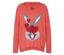 Pullover 'Bugs Bunny Emoij' grau / koralle