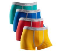 Boxer (4 Stück) mit kontrastfarbenem Bund und Pipings blau / türkis / gelb / grau / rot