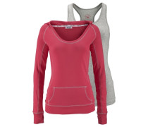 2-in-1-Shirt (Set 2 tlg.) grau / pink
