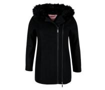 Asymmetrische Jacke mit Fake Fur schwarz