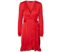 Feminines Wickel-Kleid rot