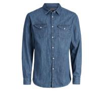 Jeans-Langarmhemd blau