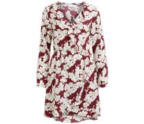 Kleid Blumen-Print Rüschen-Detail feuerrot / naturweiß