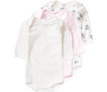 3er-Pack Bodys für Mädchen marine / hellgrau / rosa / pastellpink / naturweiß