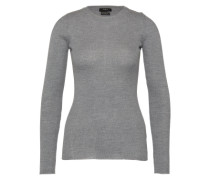 Pullover aus Wolle in Rippoptik grau