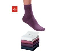 Socken (4 Paar) ohne einschneidendes Bündchen blau / lila / rot