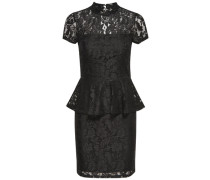 Peplum-Kleid mit kurzen Ärmeln schwarz