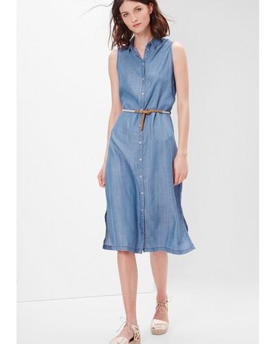 s oliver damen s oliver lyocell jeanskleid mit g rtel blau reduziert. Black Bedroom Furniture Sets. Home Design Ideas