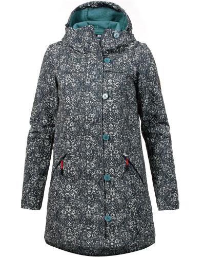 Mantel nachtblau / jade / weiß