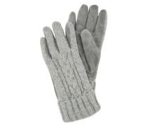 Wollhandschuhe mit Strickmuster grau