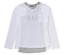'2 in 1 Langarmshirt' für Mädchen grau / naturweiß