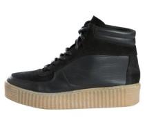 Hoher Leder Sneaker schwarz