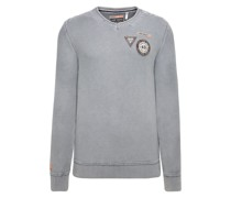 Stone Washed Pullover mit Patches
