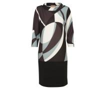 Kleid mit 3/4-Ärmeln braun / grau / schwarz / naturweiß