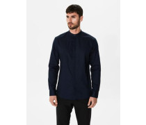 Slim-Fit-Langarmhemd nachtblau