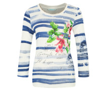 T-Shirt 'Mayo' mit Blumen-Verzierung marine / mischfarben