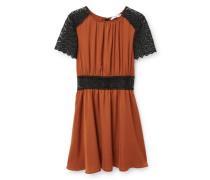 Kleid mit Seidenspitze braun