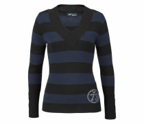 V-Ausschnitt-Pullover kobaltblau / schwarz