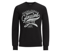 Print-Sweatshirt hellgrau / schwarz