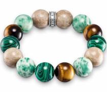 Armband beige / türkis / dunkelgrün / silber