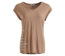 Shirt 'imke Neon Print' hellbraun / naturweiß