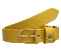 Schmaler Gürtel aus Leder gelb