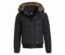 Winterjacke 'stain With RIB Collar' schwarz