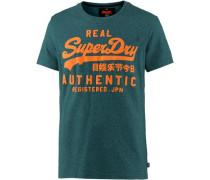 T-Shirt Herren grünmeliert / orange