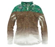 Hemdbluse 'Clouis' braun / grasgrün