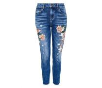Boyfriend-Jeans mit Stickerei blau / grün / rosé