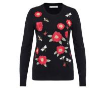 Pullover mit Blumen- und Insektenstickerei rot / schwarz