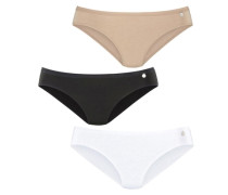 Bikinislips (3 Stück) beige / schwarz / weiß